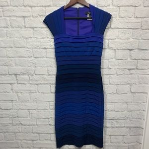 Tadashi blue ribbed stretch women's dress